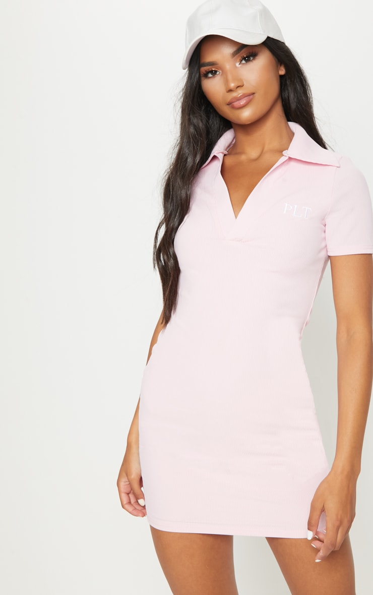 Pastel Pink PLT Embroidered Collar Detail Bodycon Dress