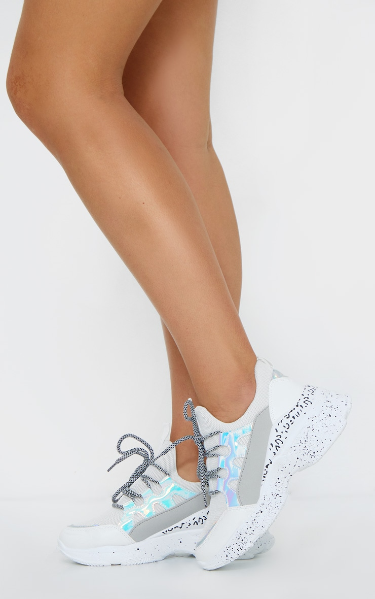 White Chunky Detail Sole Contrast Lace Trainers 1