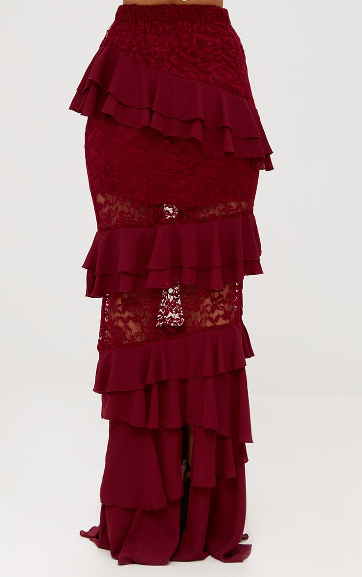 Burgundy Lace Frill Detail Maxi Skirt 5