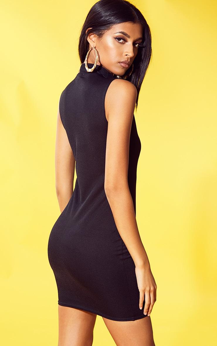 Black High Neck Sleeveless Bodycon Dress 2