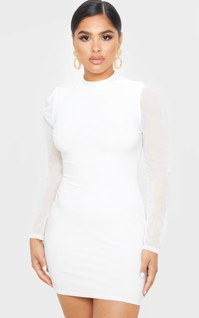 Petite Cream Organza Sleeve Slinky Mini Dress