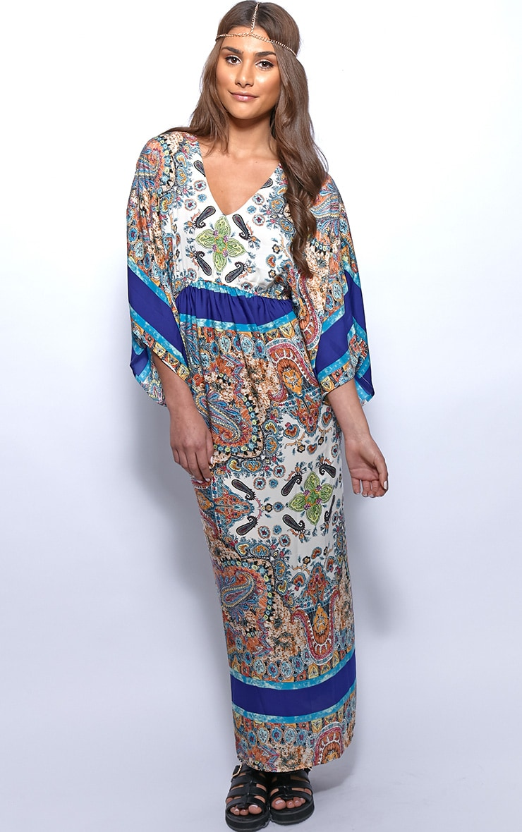 Molly Blue Paisley Print Maxi Kaftan Dress 4