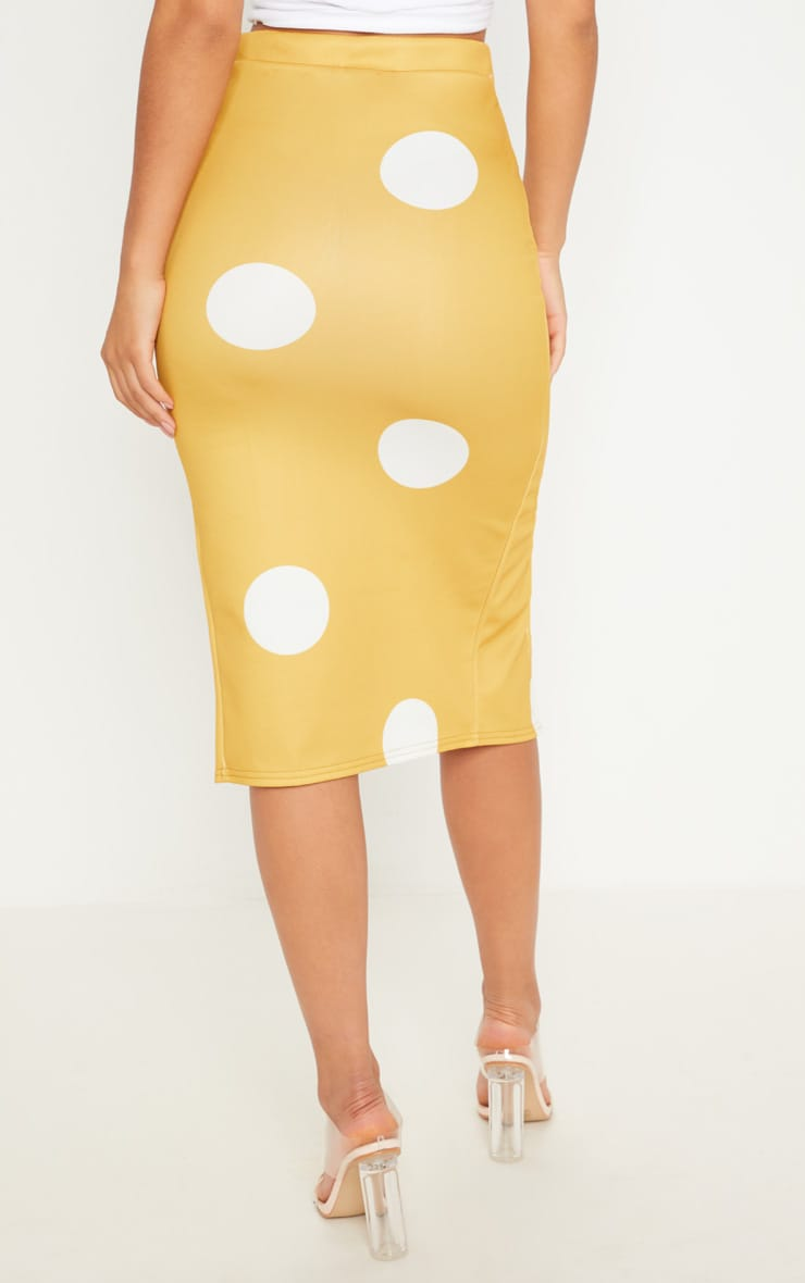Mustard Double Split Polka Dot Midi Skirt 4