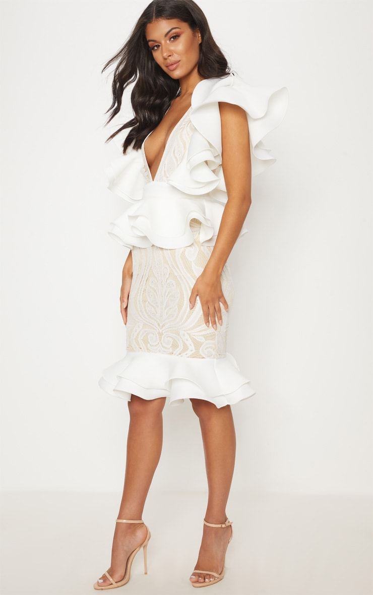 White Ruffle Detail Plunge Midi Dress 3
