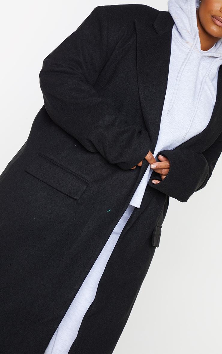Plus Black Oversized Shoulder Padded Coat 4