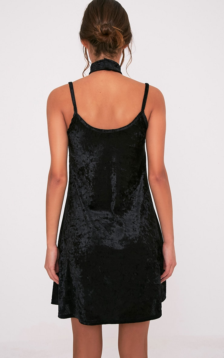 Marshia Black Velvet Choker Swing Dress 2