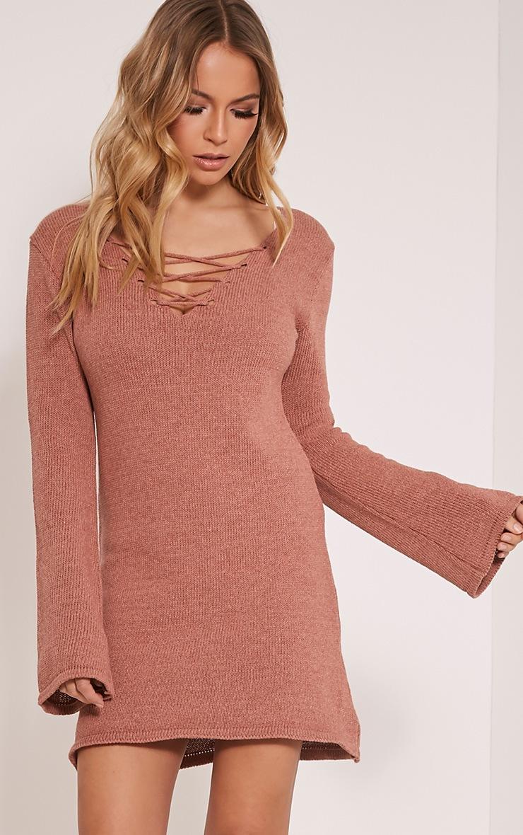 Nena Dark Rose Knitted Bell Sleeve Dress 1