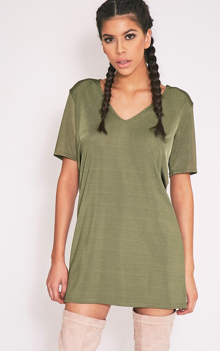 Nyla Khaki Slinky V Neck T Shirt Dress 1
