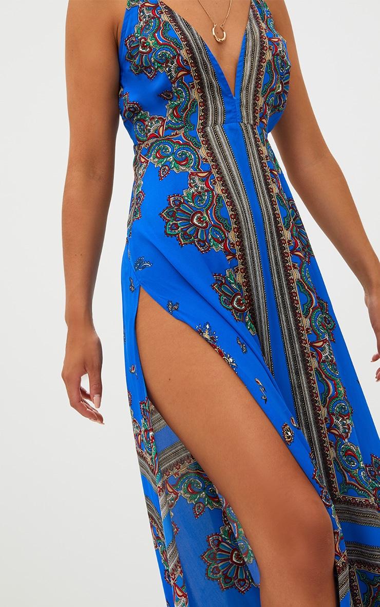 Cobalt Print Extreme Split Strappy Back Maxi Dress 5