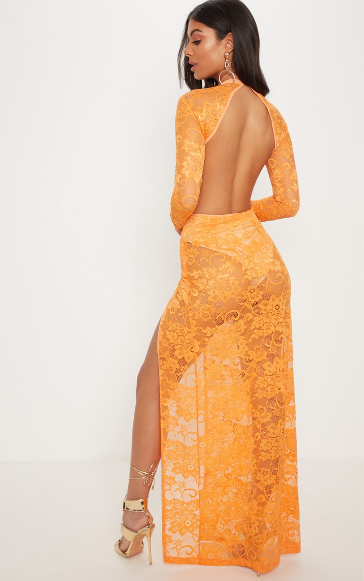 Tangerine Lace Plunge Backless Maxi Dress 2