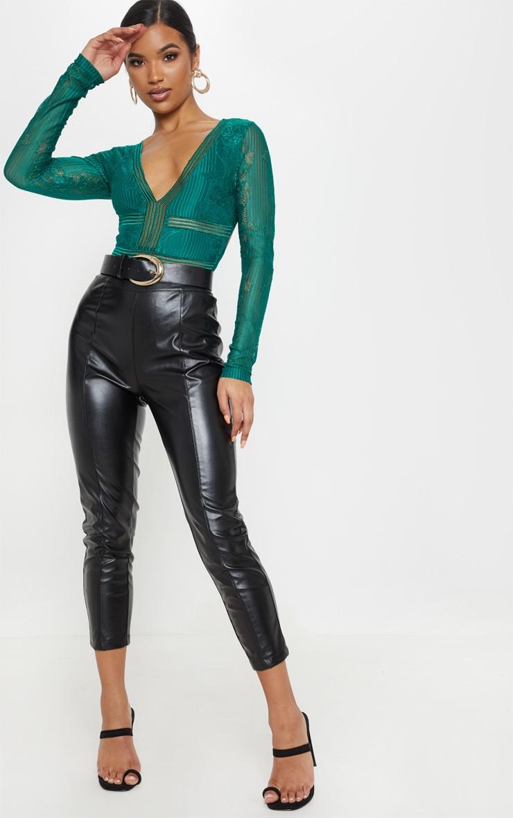 Emerald Lace Open Back Thong Bodysuit 5
