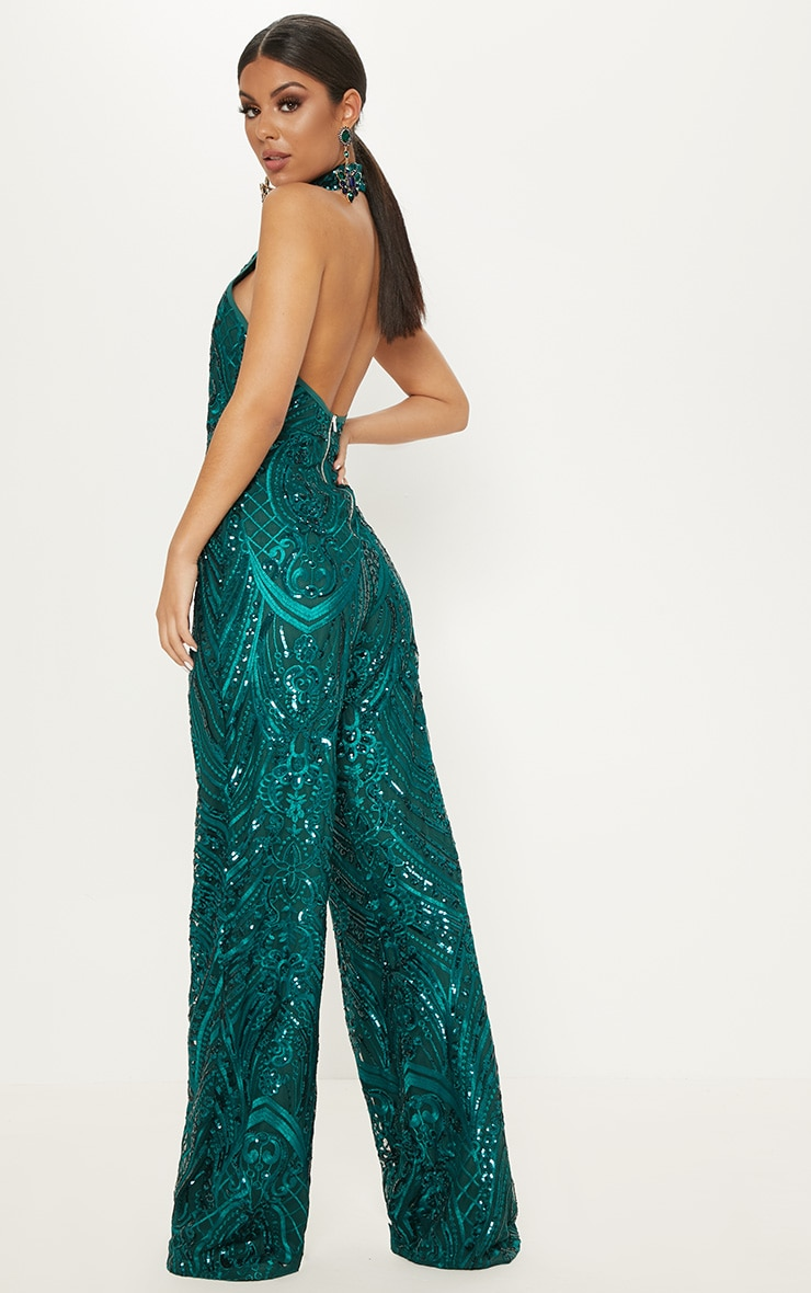 Green Sequin High Neck Jumpsuit 2