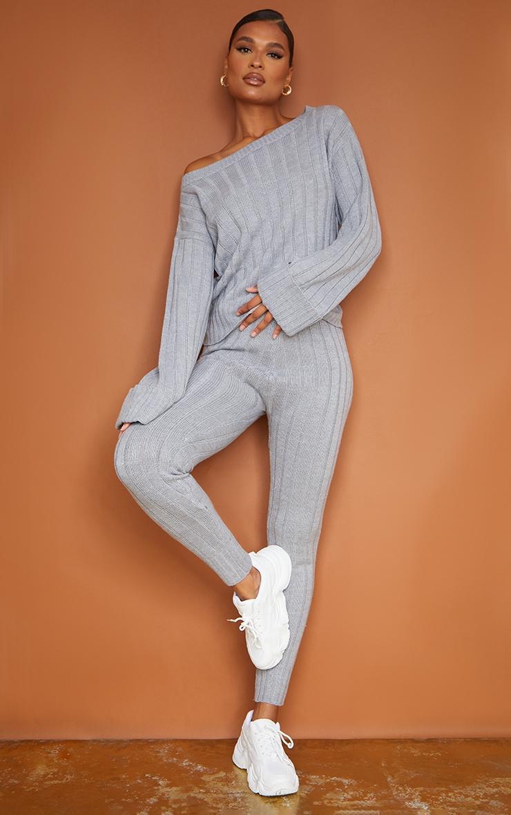 Grey Bardot Sweater And Legging Lounge Set 3