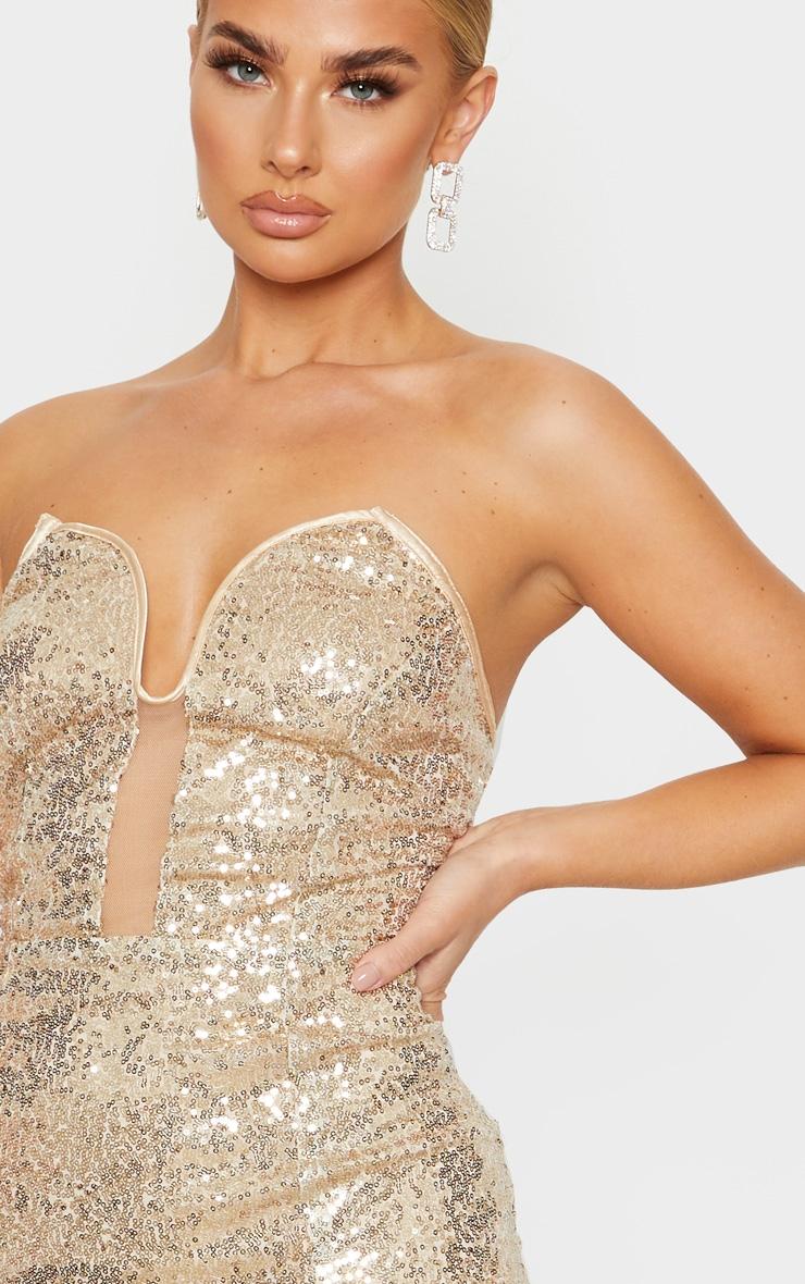 Gold Sequin V Bar Extreme Split Midi Dress 5