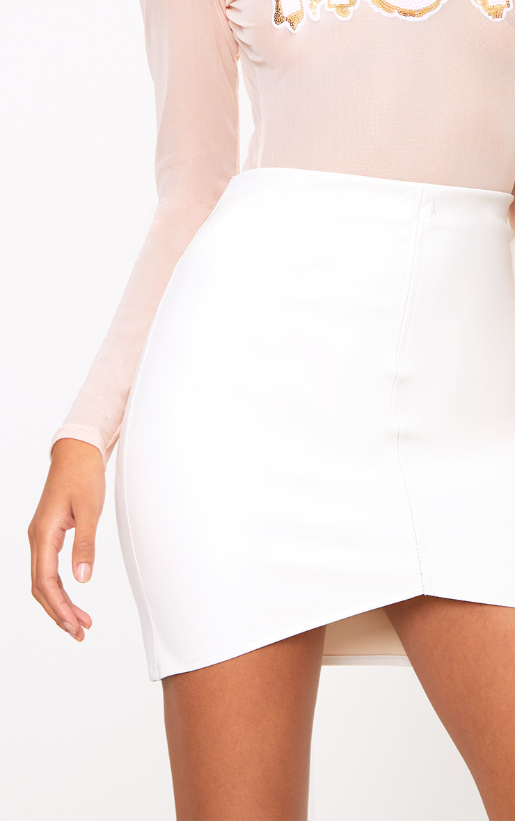 Cream Faux Leather Asymmetric Panel Mini Skirt 6