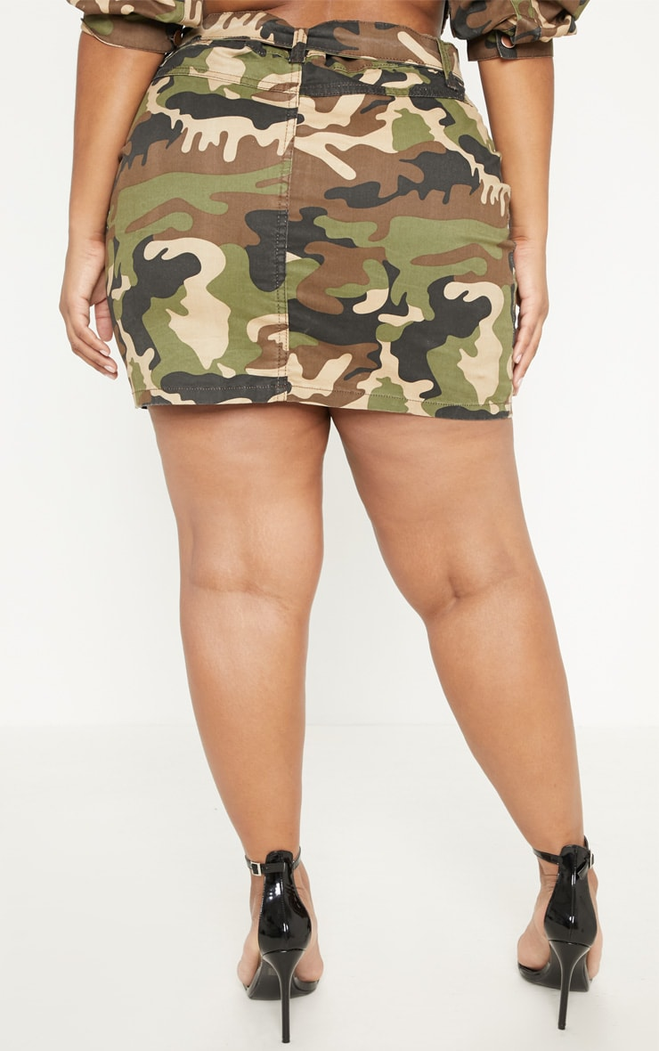 Plus Khaki Camo O-Ring Belted Denim Skirt  4