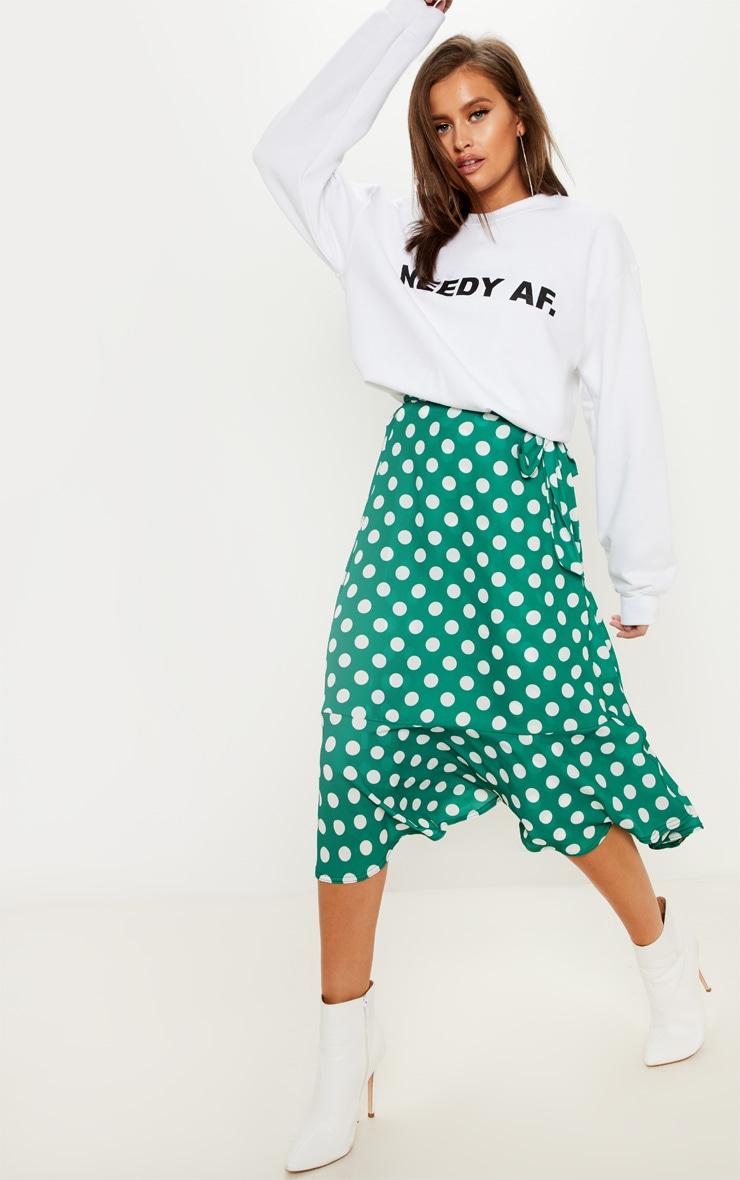 Emerald Green Polka Dot Frill Hem Tie Waist Midi Skirt 1