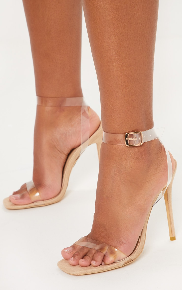 Nude Square Toe Clear Strappy Sandal 2