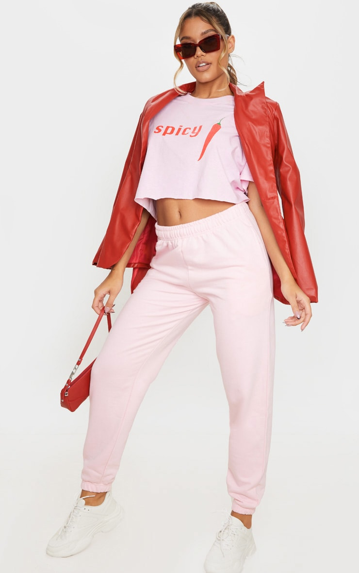 Baby Pink Spicy Printed Crop T Shirt 3