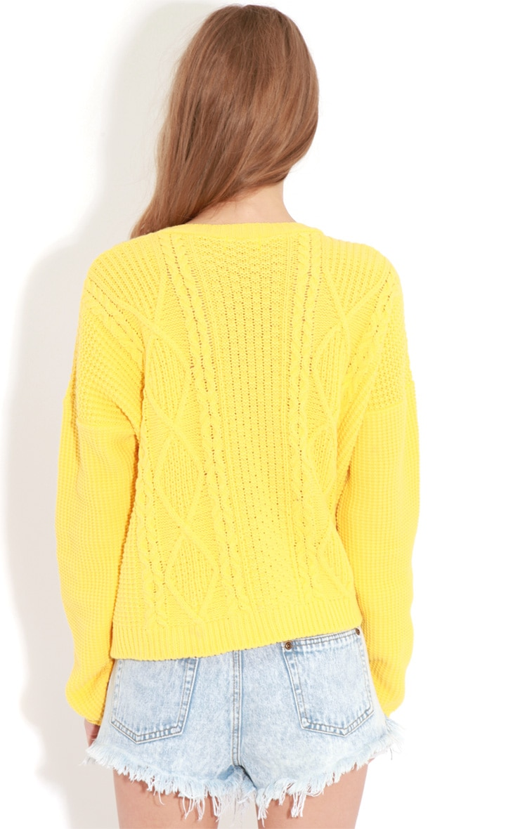 Alina Yellow Cable Knit Sweater  2