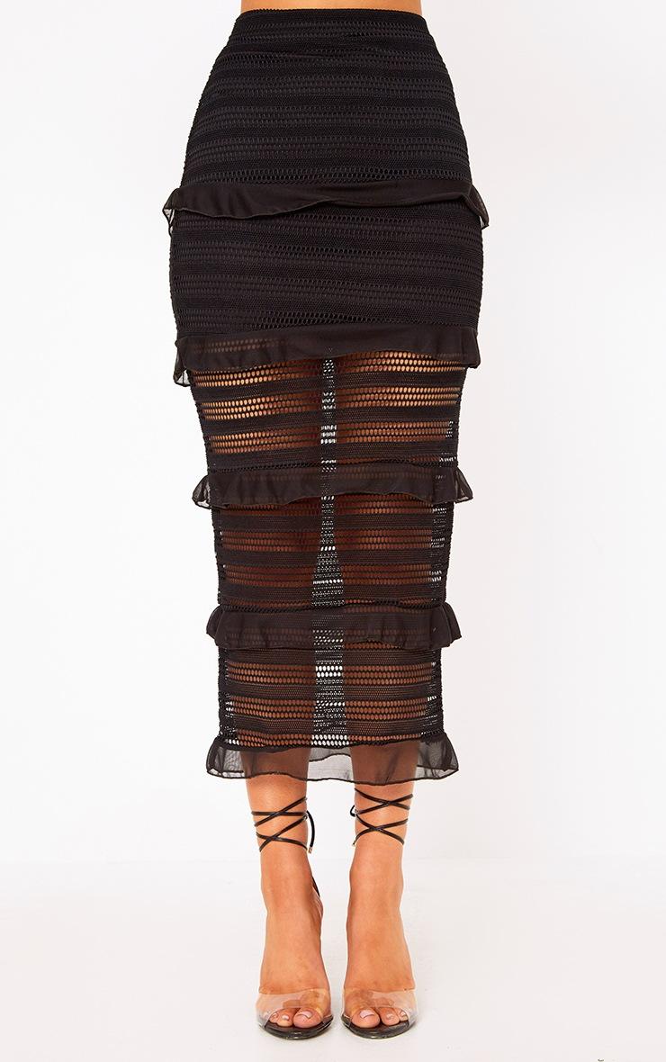 Black Tiered Frill Midaxi Skirt 2