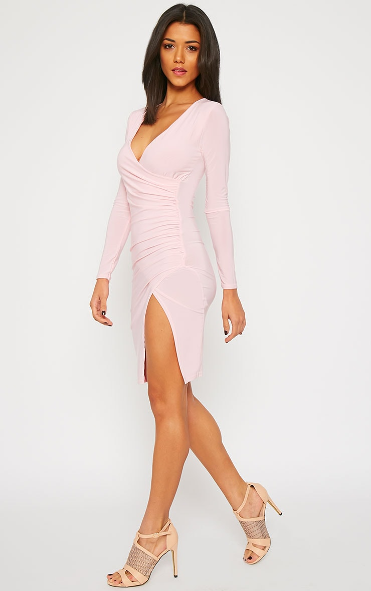 Iona Baby Pink Slinky Wrap Over Gathered Mini Dress 4