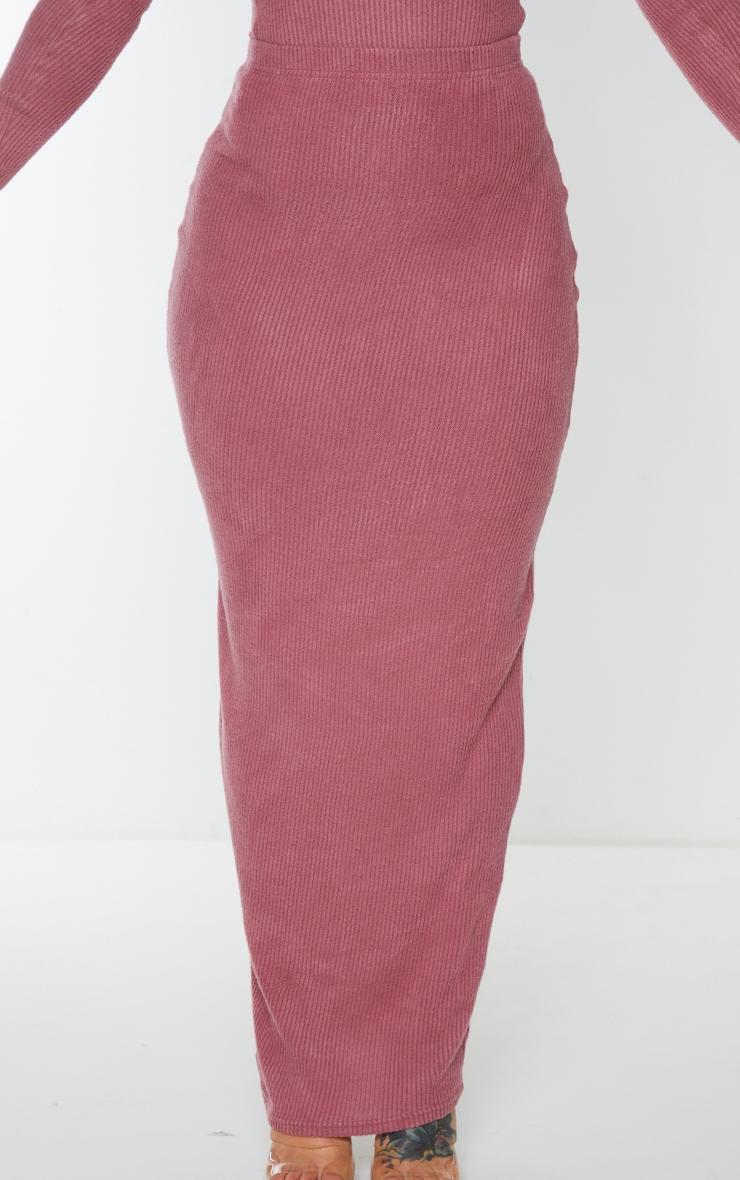 Shape Mauve Brushed Rib Midaxi Skirt 5