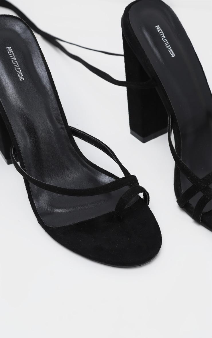 Black Toe Loop Heeled Sandal 3