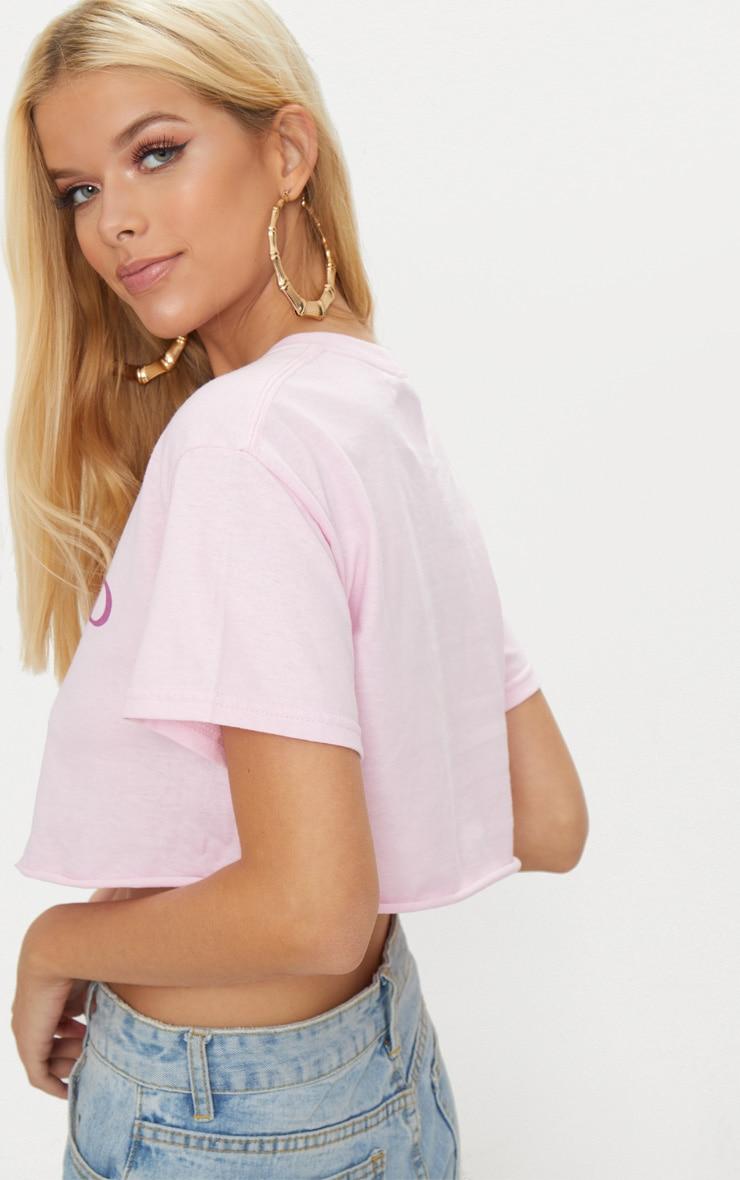 Pink Sisterhood Slogan Crop T Shirt 2