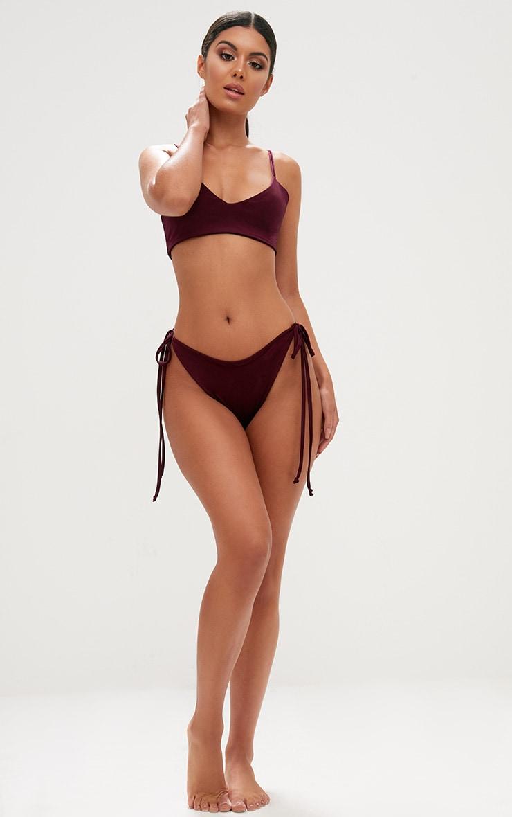 burgundy skinny strap bikini top 4