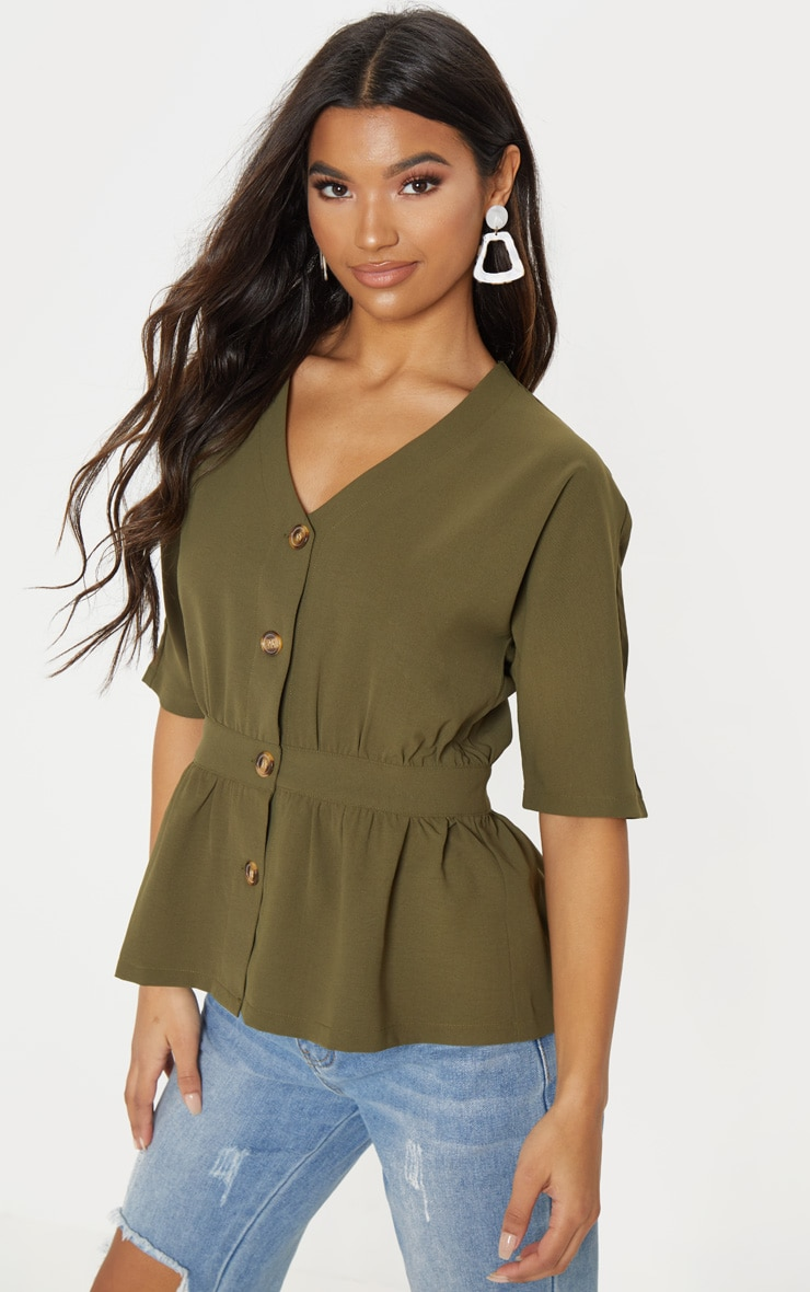 khaki button front gathered waist top
