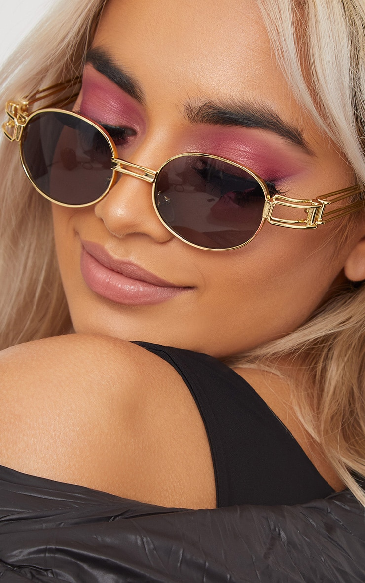 Black Oval Metal Frame Retro Sunglasses 2