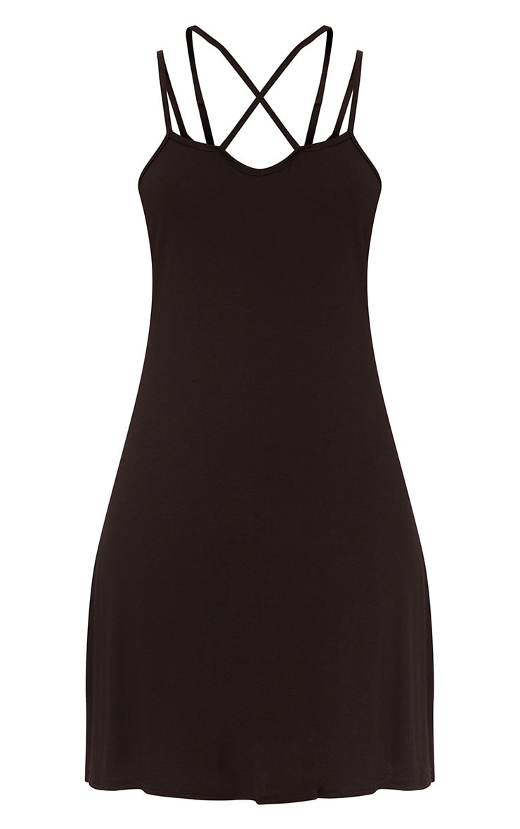 Black Jersey Cross Front Swing Dress  3
