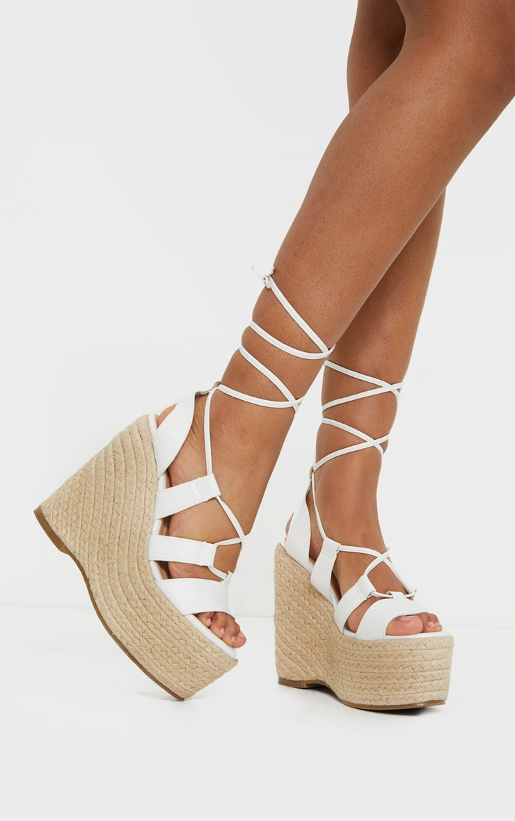 White Raffia Lace Up Wedge Heel 1