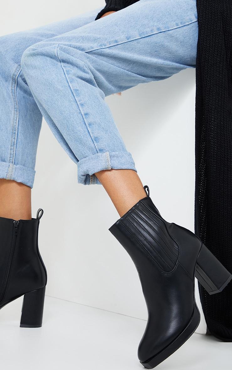 Black Slight Platform Chelsea Basic Heeled Ankle Boots