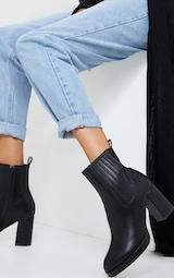 Black Slight Platform Chelsea Basic Heeled Ankle Boots 1