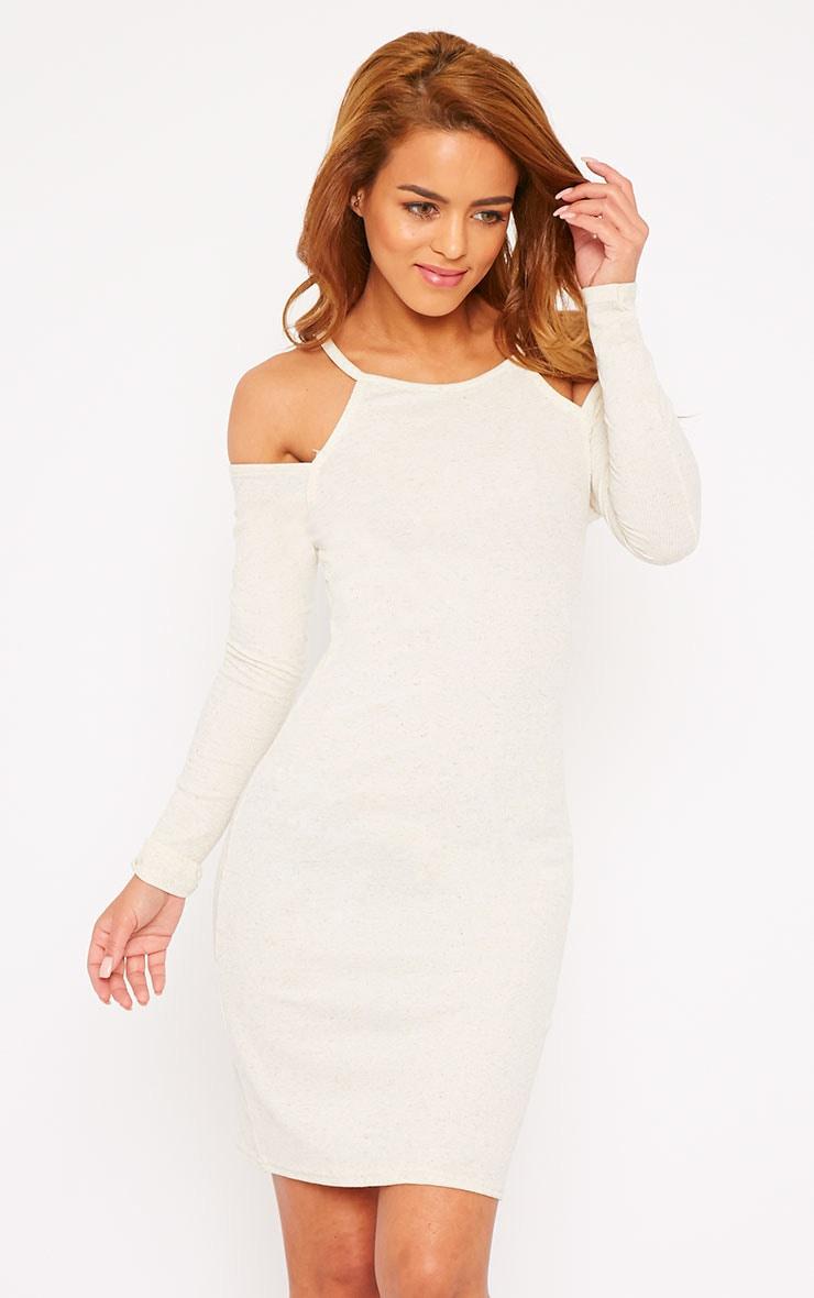 Geri Cream Ribbed Cut Out Shoulder Mini Dress 4