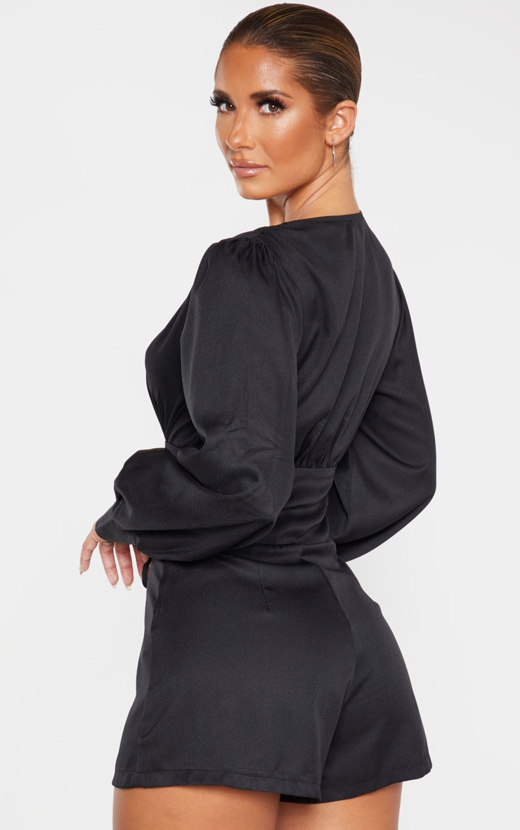 Black Lace Up Long Sleeve Romper 2