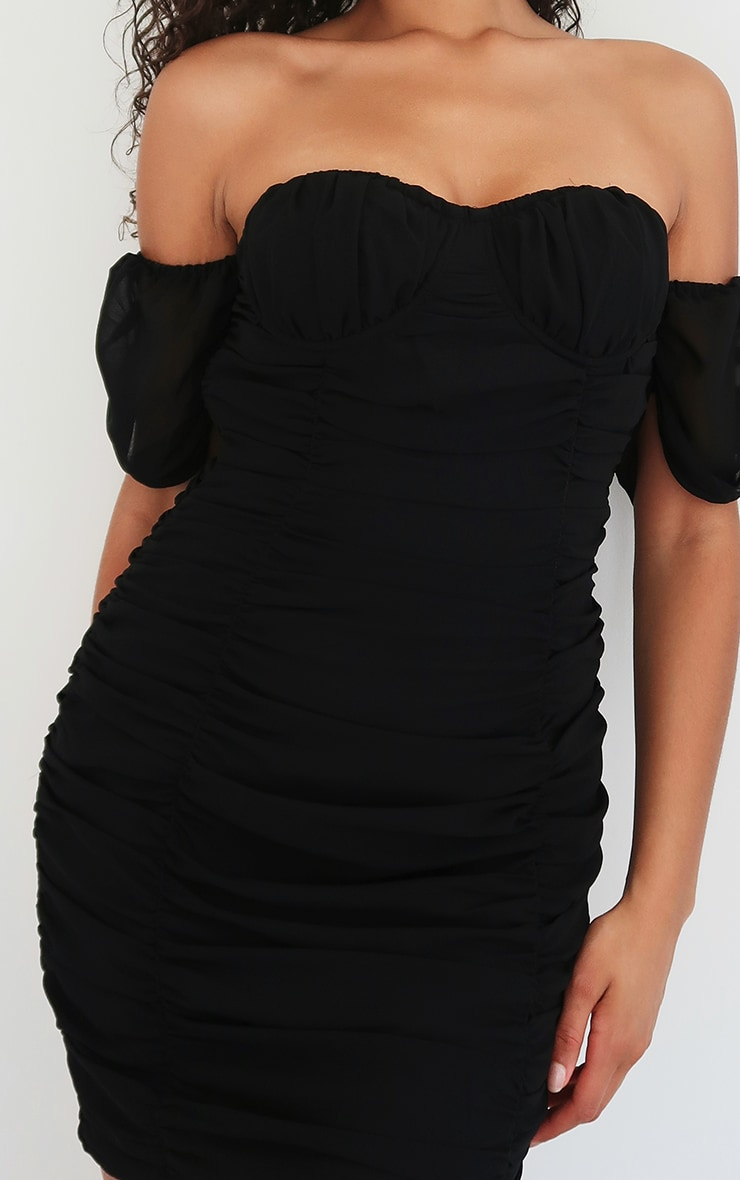 Black Chiffon Ruched Cup Detail Bodycon Dress 3