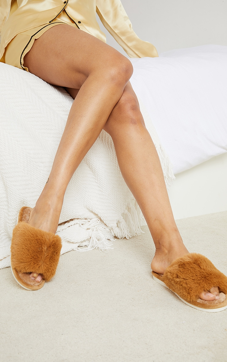 PRETTYLITTLETHING Home Tan Fluffy One Strap Quilted Sole Slippers 1