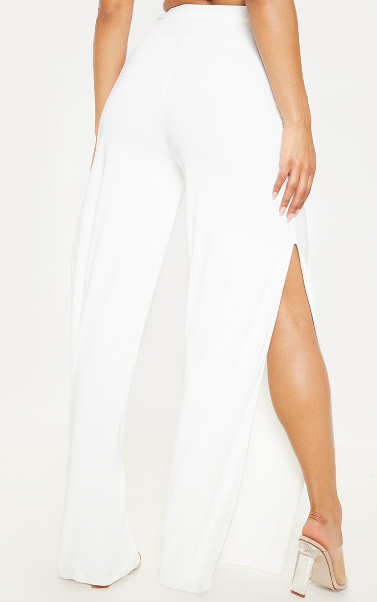 Darsee Cream Side Split Slinky Trousers 4