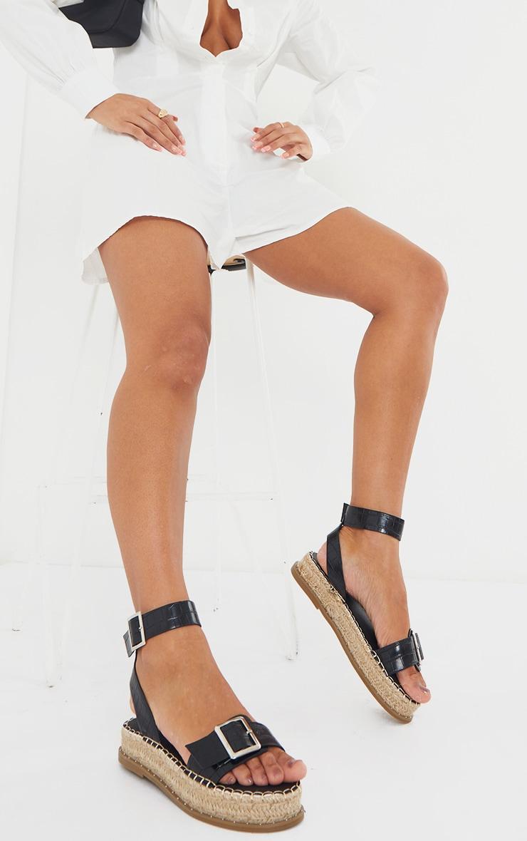 Black PU Croc Buckle Detail Espadrille Sandals 1