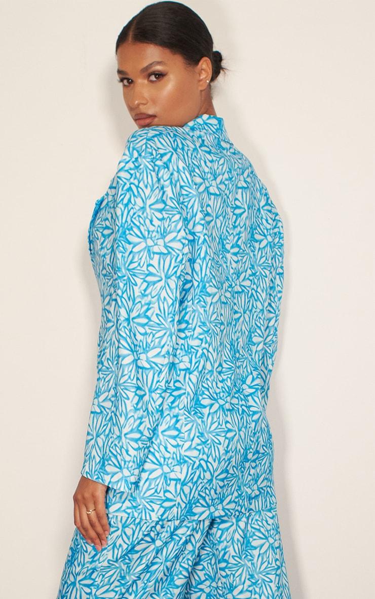 Blue Floral Print Oversized Blazer 2