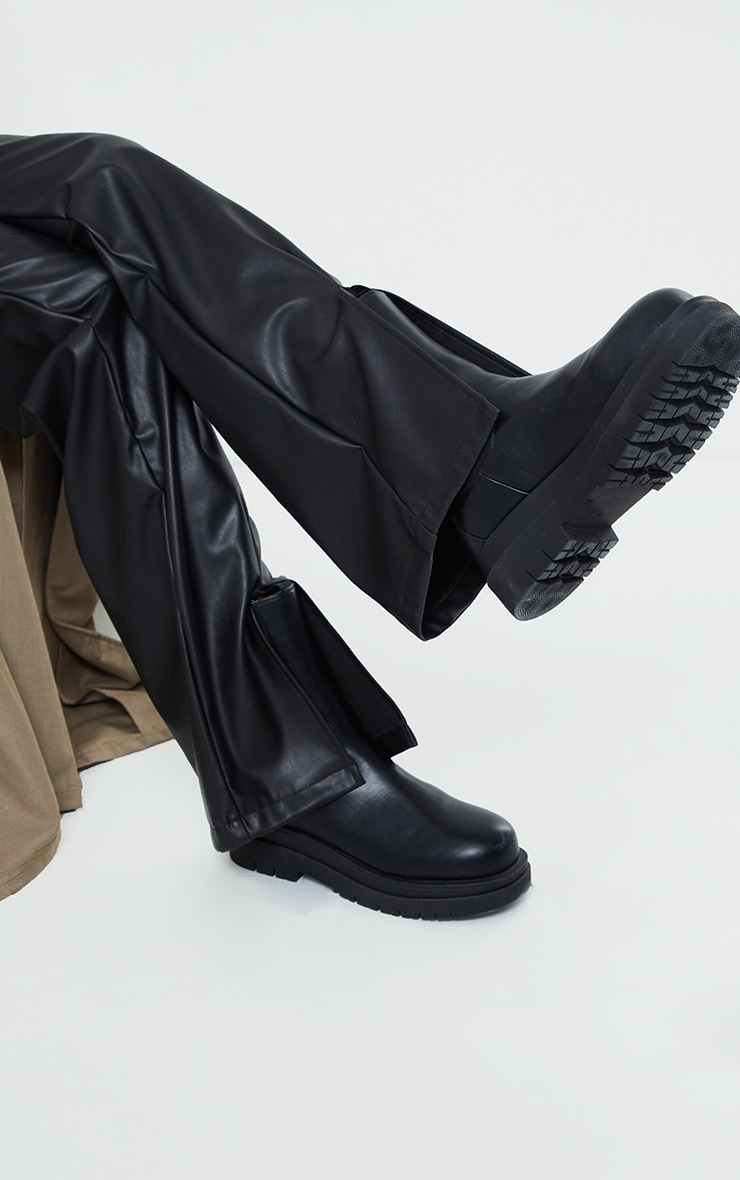 Black Faux Leather Belted Split Hem Straight Leg Trousers 3