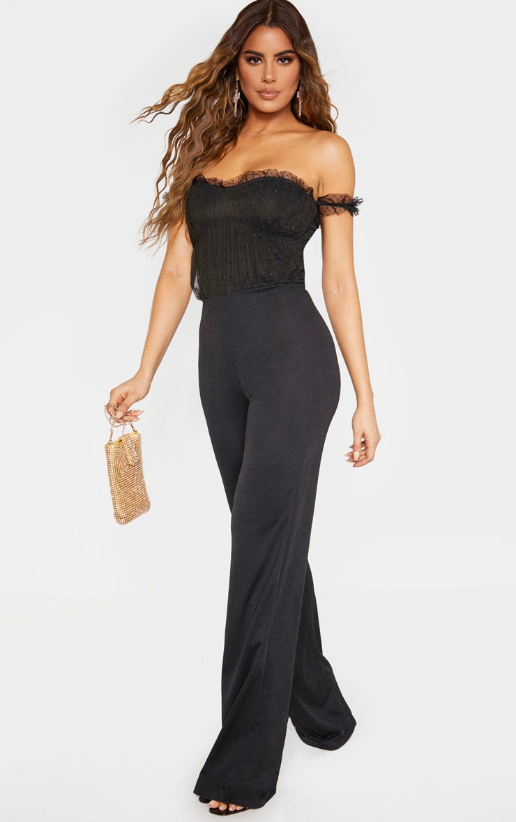 Tall Black Dobby Mesh Bardot Wide Leg Jumpsuit 4