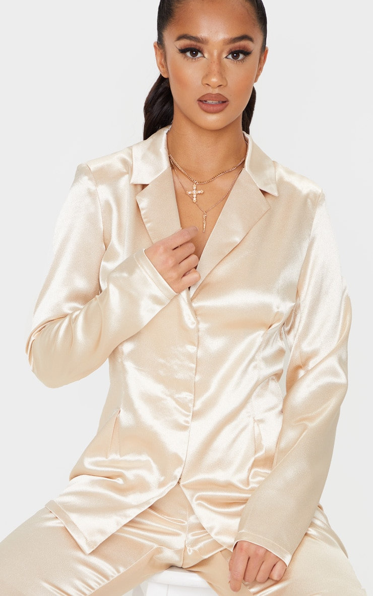Petite Champagne Satin Fitted Blazer 5