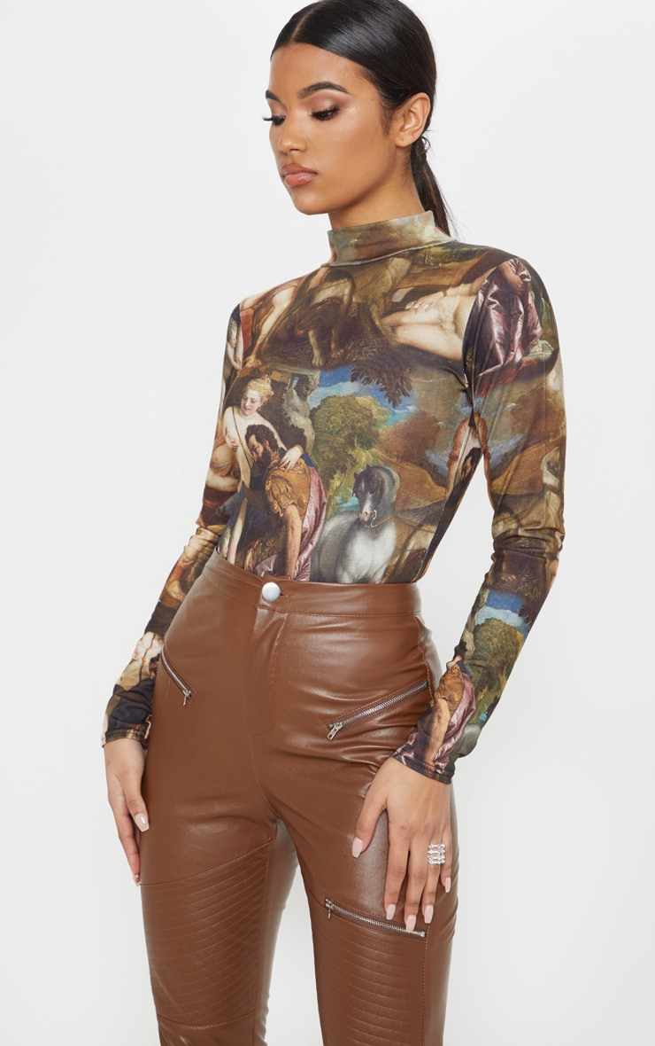 Multi Renaissance Printed High Neck Long Sleeve Bodysuit 1