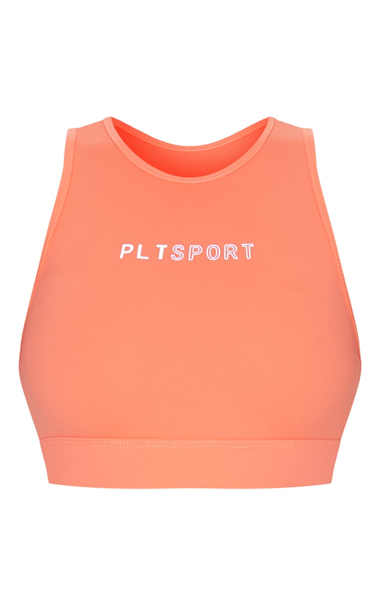 PRETTYLITTLETHING Orange Sculpt Luxe Cropped Gym Top 5