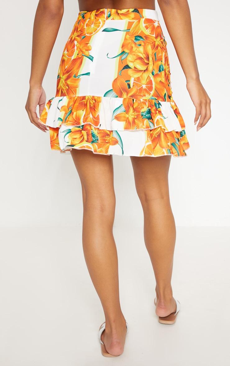 Orange Print Pebble Crepe Frill Hem Mini Skirt 4