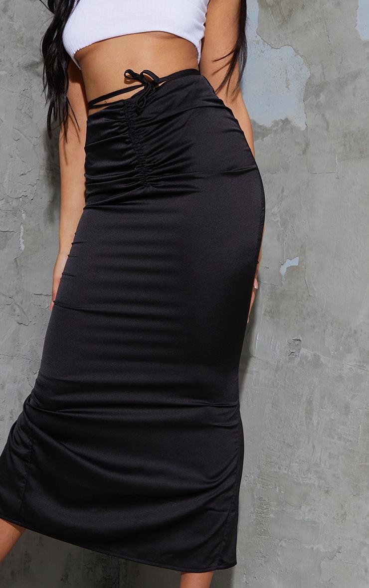 Black Satin Ruched Tie Waist Detail Midaxi Skirt 4